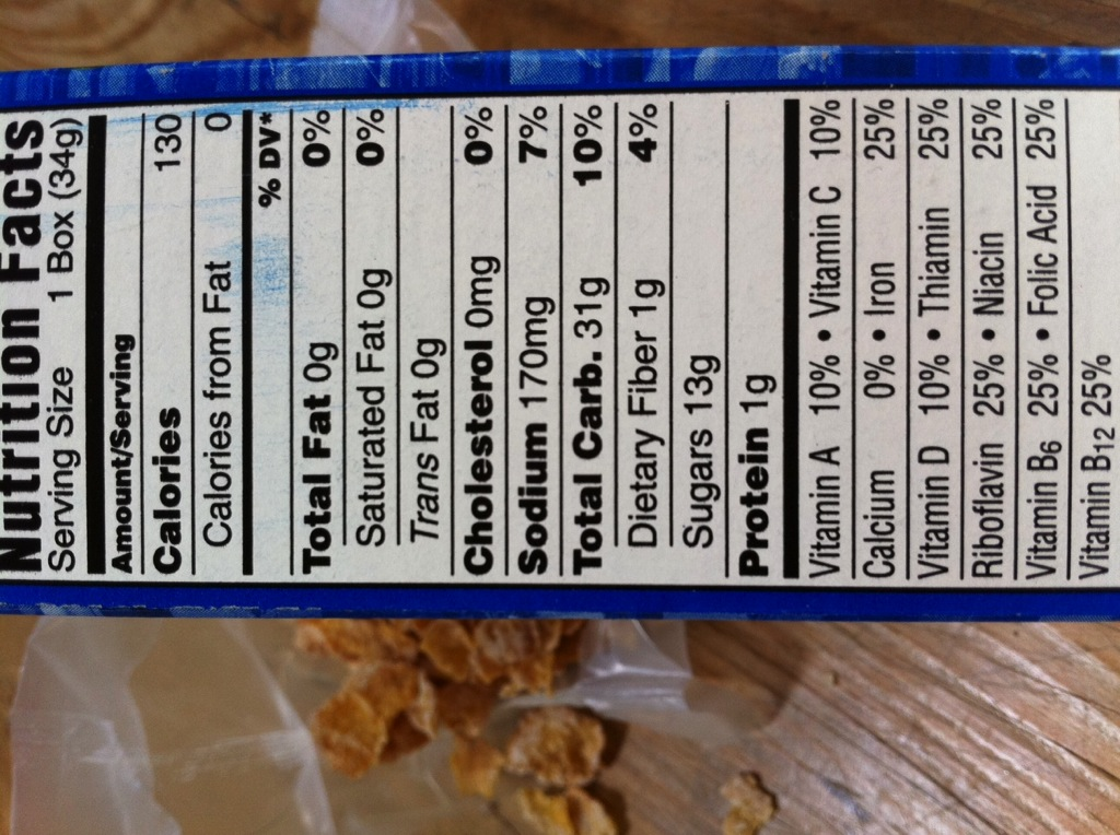 pics for gt frosted flakes nutrition label