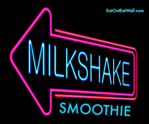 Illustration depicting an illuminated neon milkshake sign.